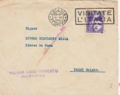 LETTERA 1937 MOSTRA COLONIE ESTIVE TIMBRO CATANIA -VISITATRE L'ITALIA-PALMI (Z502 - 1900-44 Vittorio Emanuele III