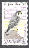 Saint Pierre Et Miquelon: Yvert N° A 76**; MNH; Oiseaux Migrateurs; Le Faucon Pélerin - Poste Aérienne