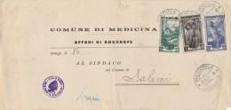 LETTERA 1951 CON 0,50+1 (NON COMUNI SU BUSTA) +10 ITALIA AL LAVORO-TIMBRO MEDICINA  (Z627 - 6. 1946-.. Repubblica