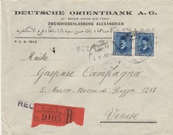 RACCOMANDATA 1931 DA ALESSANDRIA EGITTO A VENEZIA TIMBRI ARRIVO (Z705 - Egypt