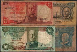 BANCO DE ANGOLA - 4 NOTAS 20$00 (2) - 50$00 (2)-(ENVIO SEM CUSTOS) - Angola
