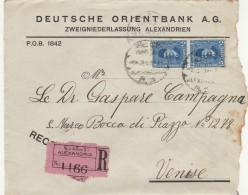 RACCOMANDATA 1928 DA ALESSANDRIA EGITTO PER ITALIA TIMBRO ARRIVO (Z719 - Egypt