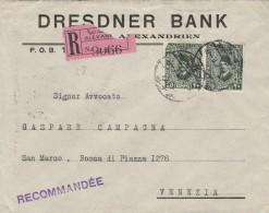 RACCOMANDATA 1930 DA ALESSANDRIA EGITTO PER ITALIA TIMBRO AMBULANTE BRINDISI BOLOGNA (Z723 - Egypt