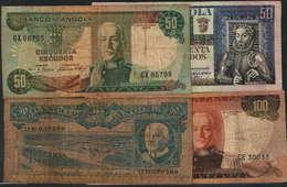BANCO DE ANGOLA - 4 NOTAS 50$00 (3) - 100$00 (1)-(ENVIO SEM CUSTOS) - Angola
