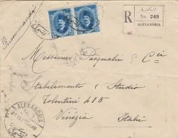 RACCOMANDATA 1927 DA EGITTO PER ITALIA-TIMBRI ALEXANDRIA VENEZIA -AMBULANTE LECCE CASTELL. (Z734 - Egypt