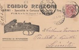 CARTOLINA 1916 CON 10 CENT. -EGIDIO RENZONI ARMI -TIMBRO PISA FIRENZE (Z860 - Storia Postale