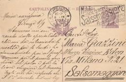 INTERO POSTALE EMISS.1925 VIAGG.1927 CENT.30 TIMBRO FIRENZE SALSOMAGGIORE-PIEGHE (Z904 - 1900-44 Vittorio Emanuele III