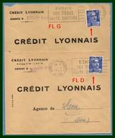 2 Lettres Bohain En Vermandois ( Aisne 02 ) FL G 1954 + FL D 1955 Les 2 PERFO C.L. Agence Bohain 8431 - Marcophilie (Lettres)