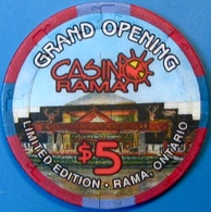 $5 Casino Chip. Casinorama, Ontario, Canada. Grand Opening. M79. - Casino