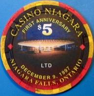 $5 Casino Chip. Casino Niagara, Niagara Falls, Canada. 1st Anniversary 1997. M79. - Casino