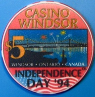 $5 Casino Chip. Casino Windsor, Ontario, Canada. Independence Day. M79. - Casino