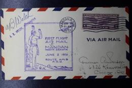USA  First Flight Mandan North Dakota, Route AM 9, POD,  June 2, 1931 - Vereinigte Staaten