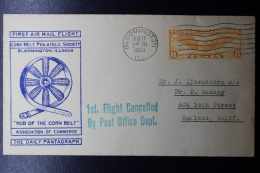 USA  First Flight Corn Belt Philatelic Society, Bloomington Ill. Hub Of The Cornbelt Feb 17 1938 Daily Pantgraph - Vereinigte Staaten