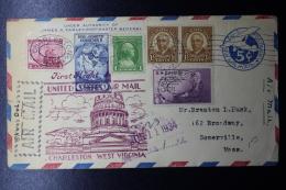 USA  First Flight To Charleston West Virginia, June 1934, Mixed Franking - Vereinigte Staaten