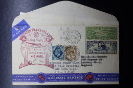 USA  First Northern Trans-Atlantic Flight To London And VV FAM 18 , Mixed Franking With Card Enclosed - Vereinigte Staaten