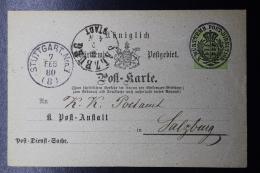 Württemberg  Diest Sache Postkarte Rechnungs-Bureau Stuttgart -> Salzburg 7-2-1880 - Wurtemberg