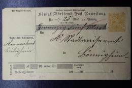 Württemberg  Post-anweissung  ADU16  Jahr 18.. - Wurtemberg