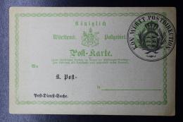 Württemberg  Dienst Sache Postkarten Postamt 6-7-1878 - Wurtemberg