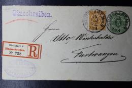 Württemberg  Umslag  U35 Einschreiben, Uprated Stuttgart -> Furtwangen 1892 - Wurtemberg
