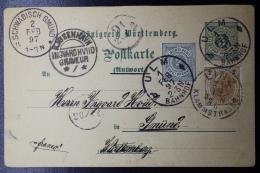 Württemberg  Postkarte  P38A  Uprated Linz -> Ulm -> Gmünd Distribution Cancels - Wurtemberg