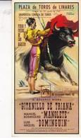 PLAZA DE TOROS LINARES. CARTEL DE LA MUERTE DE MANOLETE. REPRODUCCION LAMINOGRAF. CIRCA 1970's-  BLEUP - Corrida