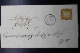 Wurttemberg   3 Kr  Arms Imperforate 1861 Guglingen Double Ring Cds To Vaihingen Via K. Wurrt Fahrend Postamt Z.19 - Wurtemberg