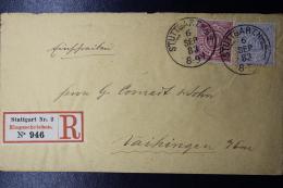 Wurttemberg  MiF 46 +47 + Einschreiben  Stuttgart -> Vaihingen 1883 - Wurtemberg