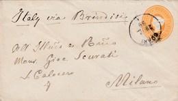 Indien, 2,6 Anna Gelb, Ganzsache Von 1899 Via Brindisi Nach Mailand - Inde