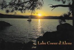 Idaho Lake Coeur D' Alene Sailing At Sunset - Coeur D'Alene