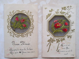 2 Carte Brodee . Fleurs En Transparence - Brodées
