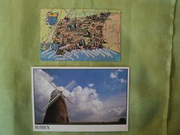 LOT DE 2 CPM SUSSEX. 1978 / FIN XX° CARTE DU SUUSEX OUEST / MOULIN. - Postcards