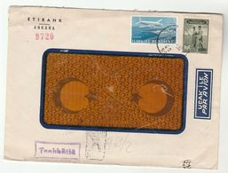 1950 Registered TURKEY Stamps COVER Etibank Ankara To USA Airmail Label Aviation - 1921-... Republic