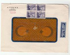 1950 TURKEY Stamps COVER Etibank Ankara , Airmail Label Aviation - 1921-... Republic