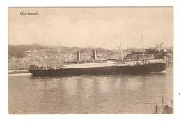 """CT--02641--  PIROSCAFO A VAPORE """" CINCINNATI """" PORTO DI GENOVA - VIAGGIATA 1915 - Piroscafi"""