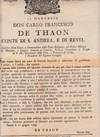 Torino, Cacciata Dei Francesi Dalle Truppe Austro Russe E Decreto Del Marchese Carlo Francesco De Thaon 10 Giugno 1799 - Decreti & Leggi