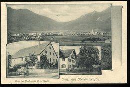 Gruss Aus Oberammergau Haus Des Kaufmanns Georg Gast Coin Inférieur Gauche Plié Untere Linke Ecke Gefaltet - Oberammergau
