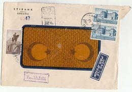 1950 Registered  TURKEY COVER Etibank Ankara HORSE ,  LOZAN BARISI  Stamps To USA Airmail Label Aviation - 1921-... Republic