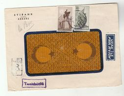 1950 Registered  TURKEY COVER Etibank Ankara HORSE , FLAG  Stamps To USA Airmail Label Aviation - 1921-... Republic