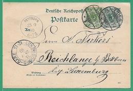 ! - Allemagne Reich - Carte Postale   - Cachet De 1890 - Envoi De Trier Vers Luxembourg - Allemagne