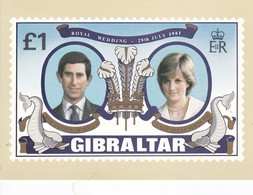 Postcard Gibraltar Royal Wedding 1981 £1 Stamp Gibraltar Post Office Prince Charles Lady Diana Royalty My Ref  B22996 - Gibilterra