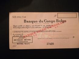 Banque Du Congo Belge Chèque Avec Surcharge Banque Belgo - Congolaise  Janvier 1960 - Documents Historiques