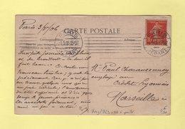 Krag - Paris Depart - 7 Lignes Droites - Bloc Dateur A Pont - 1906 - Postmark Collection (Covers)