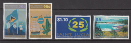 2004 St. Lucia Independence Flag Ships Aviation Complete Set Of 4 MNH - St.Lucia (1979-...)