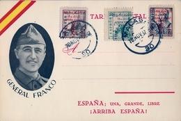 1937 , GUERRA CIVIL , TARJETA POSTAL PATRIÓTICA , GENERAL FRANCO - 1931-Hoy: 2ª República - ... Juan Carlos I