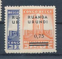BELGIAN CONGO RUANDA URUNDI 1941 ISSUE  ALBERT 'S MEMORIAL COB 124/125 MNH - 1924-44: Mint/hinged