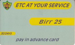 ETHIOPIA - ETC Prepaid Card 25 Birr, Exp.date 05/11/05, Used - Ethiopia