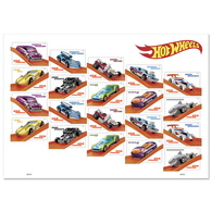 Stamps USA 2018. Hot Wheels. 20 Stamps. Sheet. - Unused Stamps