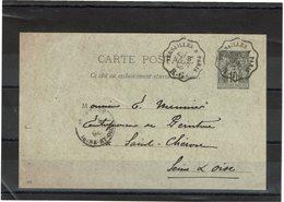 LBR40B - CP SAGE 10c AMBULANT VERSAILLES A PARIS 3/6/1896 R.G. - Postal Stamped Stationery