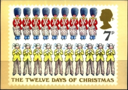 CHRISTMAS- 12 DAYS OF CHRISTMAS- NINE DRUMMERS DRUMMING-TEN PIPERS PIPING - PHQ CARD-GREAT BRITAIN -1977-MC-80 - Christmas