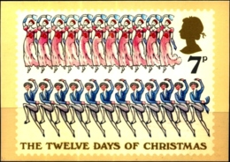 CHRISTMAS- 12 DAYS OF CHRISTMAS- ELEVEN LADIES DANCING-TWELVE LORDS A LEAPING - PHQ CARD-GREAT BRITAIN -1977-MC-80 - Christmas
